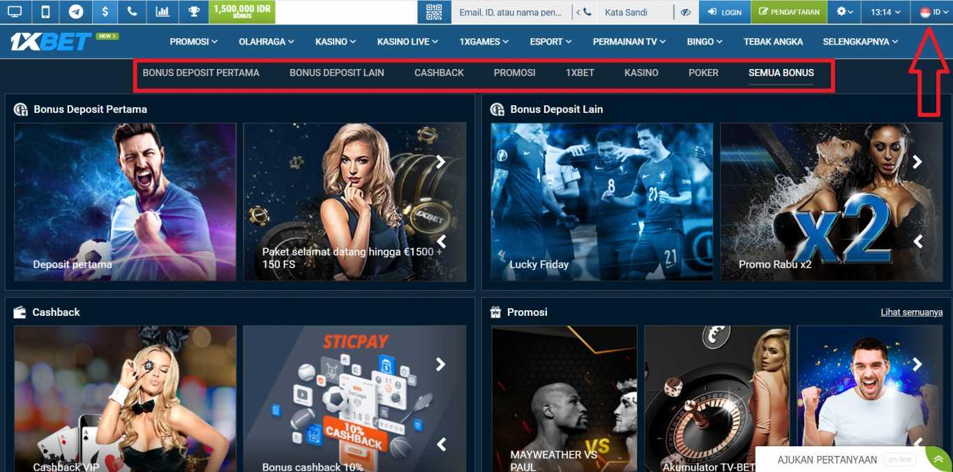 Promo 1xBet Casino Bonus 100% Hingga 1500 USD